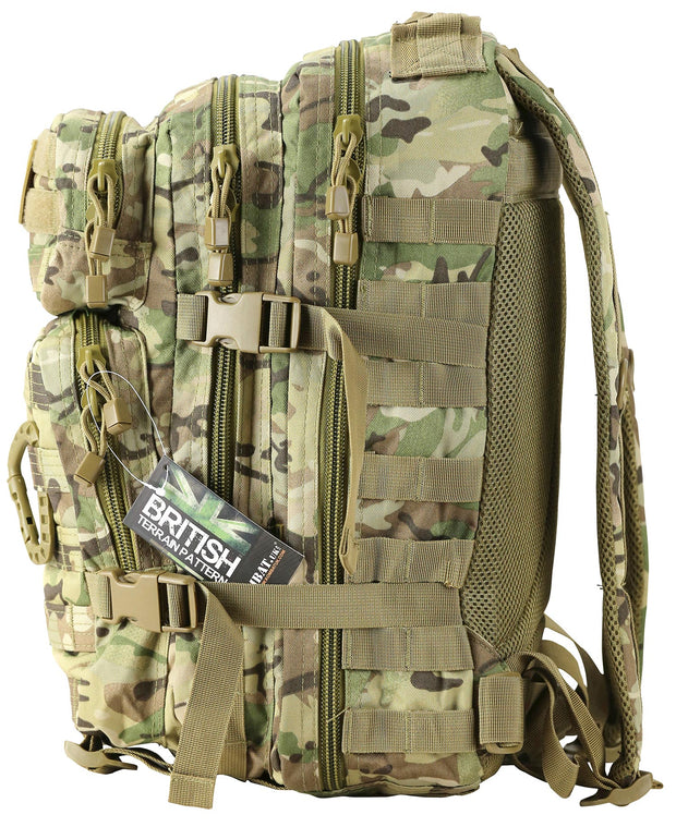 army tactical bag in btp/mtp camo. 2 main compartments. 2 front compartments,smaller on top. 2 side compression straps and carry handle on top. all compartments with paracord zip pullers. horizontal molle straps on front of bag and side to attach molle pouches. back view airflow mesh back padding and 2 shoulder straps