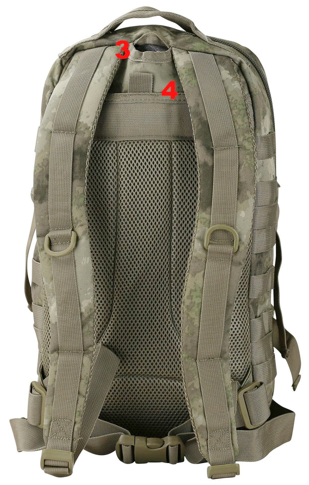 shows airflow mesh back panel and shoulder straps with d rings