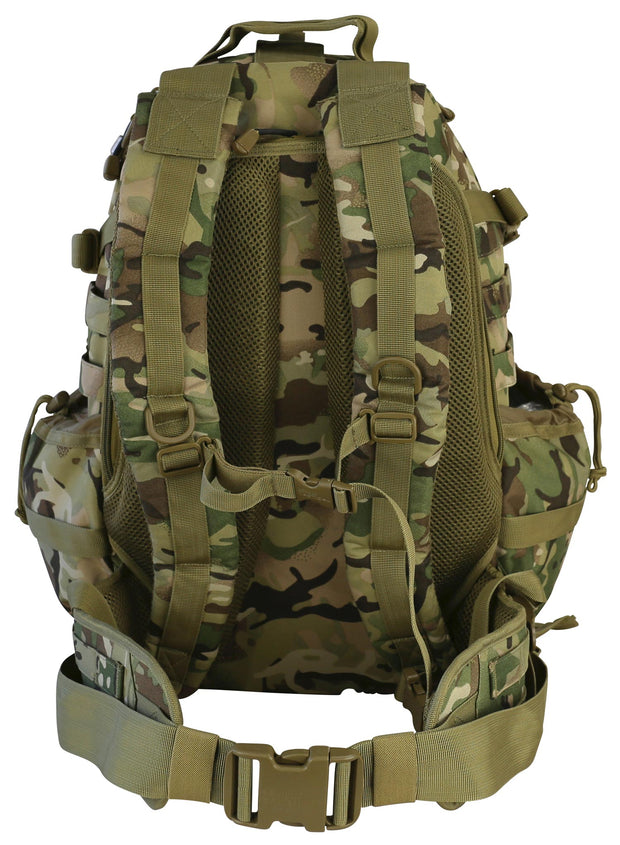 Defender Pack 60ltr-BTP. detachable helmet carrier and molle. full access back panel. mesh airflow system .waist strap and chest/sternum strap
