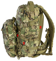 Defender Pack 60ltr-BTP. detachable helmet carrier and molle. side compression straps and side pockets