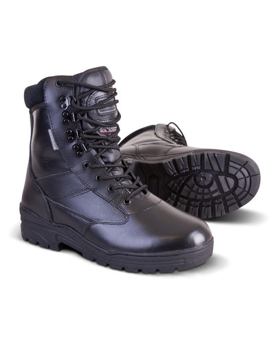 black leather patrol boots