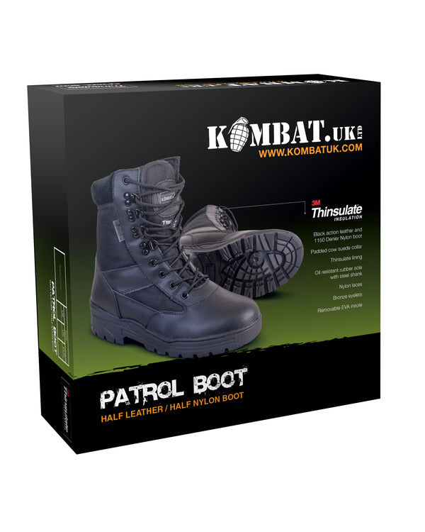 Patrol Boots-Half leather Half nylon-Black