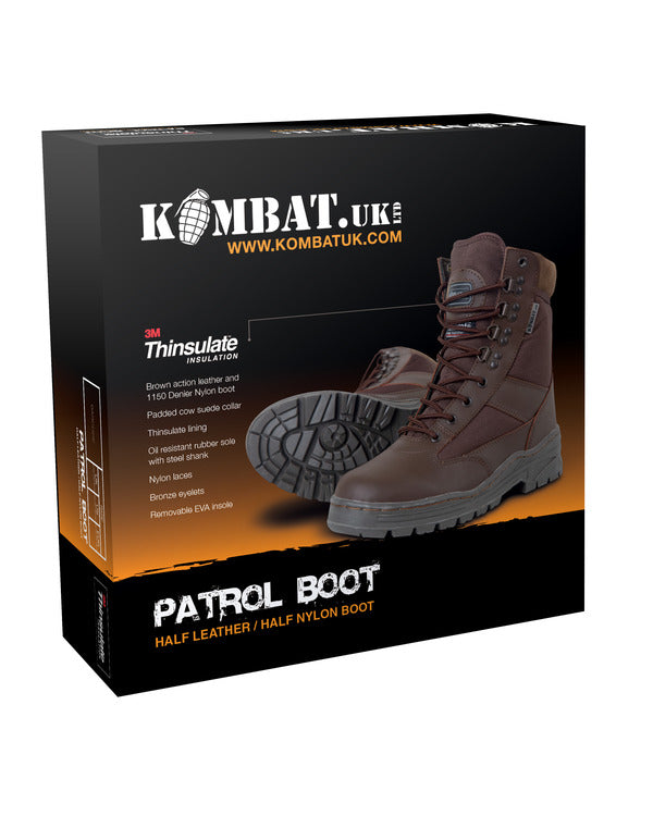 Patrol Boots-Half leather Half nylon-MOD Brown  footwear Kombat UK - The Back Alley Army Store