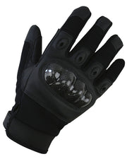 top. black glove showing teardrop vents on all four finger and contoured carbon fibre knuckle guard
