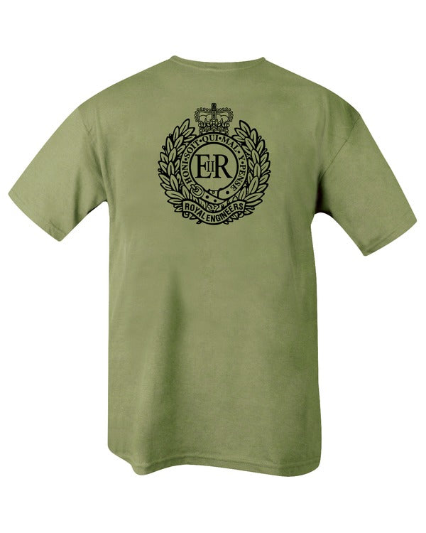 olive t-shirt with black print. back. large royal engineers emblem in centre