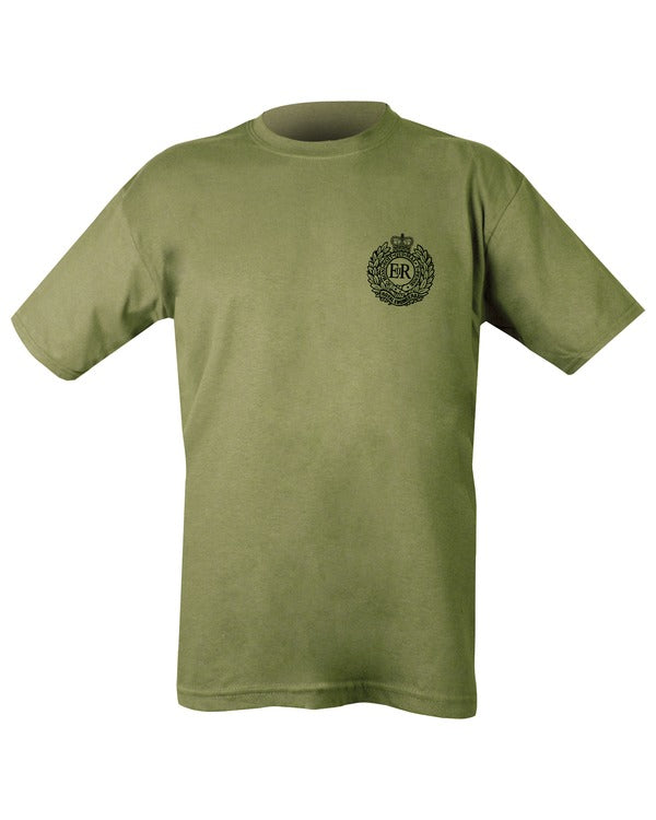 olive t-shirt with black print. on left chest is royal engineers logo