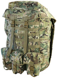 100 litre airborne bergan.front. British camo rucksack with floating lid flapped and fastened leaving exposed front molle attachments. 3 utility pouches at the bottom