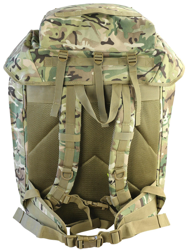 100 litre airborne bergan .back. shows removable lid and zipped pocket, shoulder straps, waist straps and breathable mesh airflow system