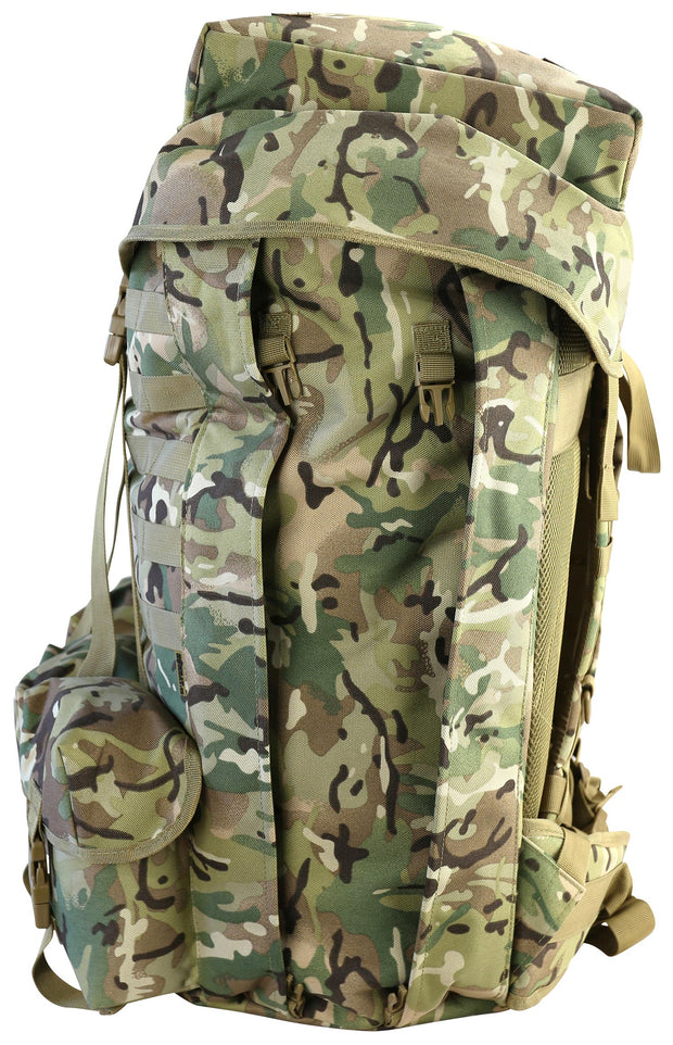 100 litre airborne bergan.front. British camo rucksack with floating lid flapped and fastened leaving exposed front molle attachments. 3 utility pouches at the bottom. side