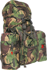 Full-size PLCE System 120ltr-DPM removable side pockets for backpack