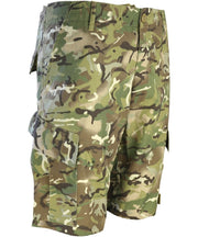 British Terrain Pattern camo shorts with slanted side cargo pockets and belt loops. 2 rear pockets. Cargo shorts,combat shorts,army shorts,military shorts,British army shorts.Tactical clothing,tactical shorts