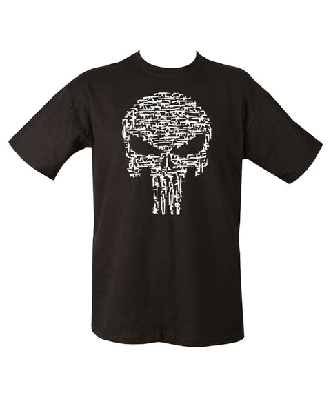 black t-shirt with white print of punisher head made of small guns