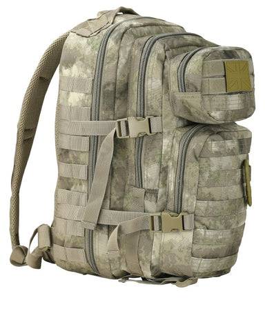 front. light beige colour backpack with light green and brown smudged in. shows compression straps and velcro pactch on top pouch