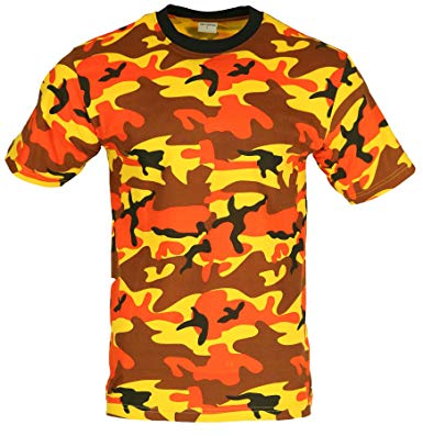 orange camo t-shirt100% cotton