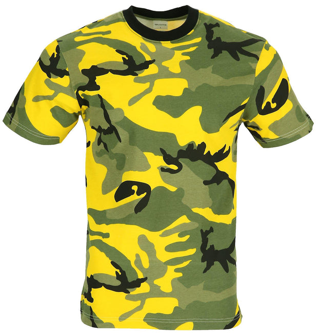 yellow camouflage t-shirt