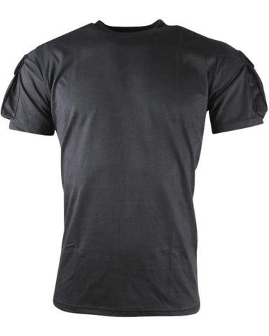 haevyweight black t-shirt with velcro panels on each sleeve with pockets
