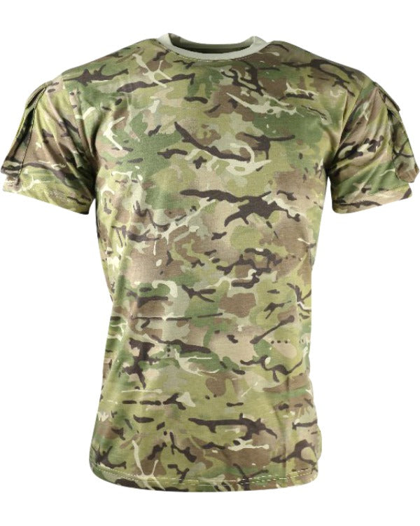 heavyweight british camo short sleeved t-shirt. velcro panels on eack side with small pockets