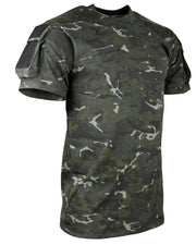 heavyweight british camo black short sleeved t-shirt. velcro panels on eack side with small pockets