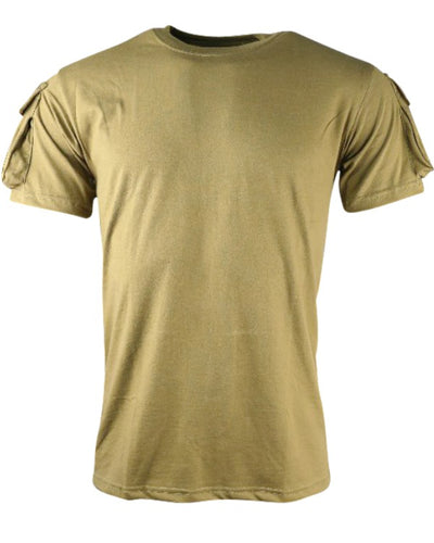 heavyweight coyote brown,light brown short sleeved t-shirt. velcro panels on eack side with small pockets
