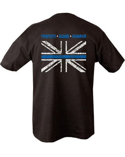 black t-shirt with white uk flag on left chest. Light blue line passing horizontally thrugh the middle. Protect,serve,honour written above flag. Same design on reverse covering top half of the back