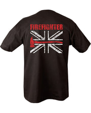 black t-shirt. front left on chest white uk flag with horizontal red line with axe head on th end. Same on reverse but whole image covering top half of the shirt