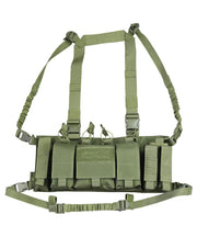 trojan airsoft chest rig.assault chest rig. shoulder strap harness and elasticated bungee style waist belt.  3 extended pistol mag pouches, 2 AR pouches and large multi purpose utility pouch .all mounted on front