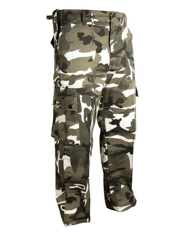 Kombat trouser-Urban black and white camo snow camo combats