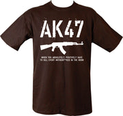 "black t-shirt with white print. AK47 in stamp text on top half. image of ak47 underneath. text ""when you absolutely positively have to kill every motherf***er inthe room"