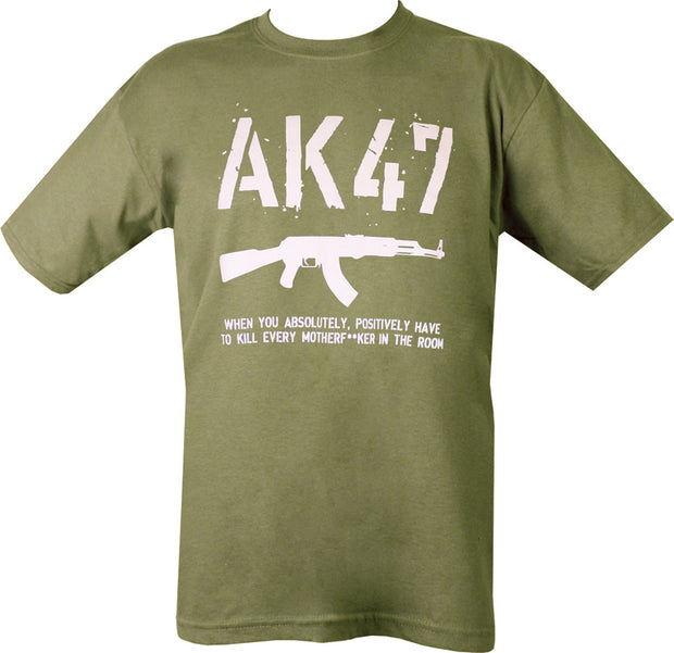 "olive green t-shirt with white print. AK47 in stamp text on top half. image of ak47 underneath. text ""when you absolutely positively have to kill every motherf***er inthe room"""