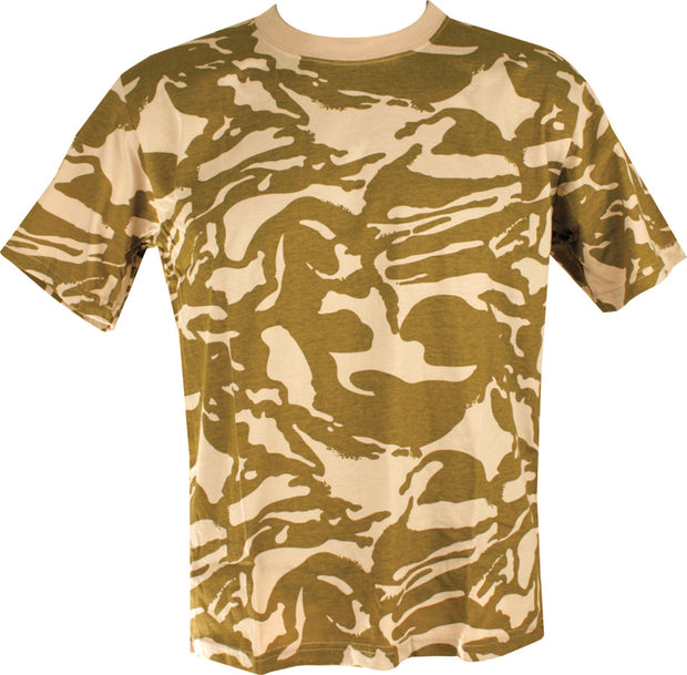 desert camo t-shirt. lightbrown and dark brown horizontally dispersing pattern