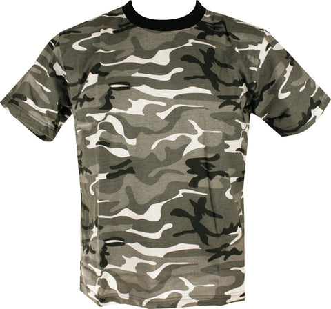 camo t-shirt. black,white,light grey and dark grey horizontaly dispersed pattern