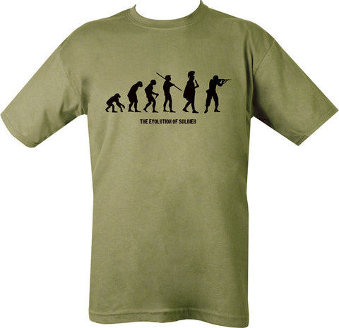 green t-shirt black print.  6 silhouettes depicting evolution from ape to soldier