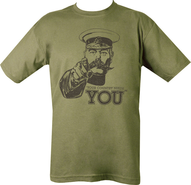 "olive t-shirt with black print. lord kitchener image with ""your country needs you"" text"