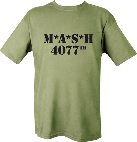 "green t-shirt with black print. text ""M.A.S.H 4077"". MASH tv show t shirt"