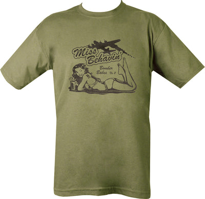 olive t-shirt with black print. 50s pin up laying front down with bomber plane soaring above