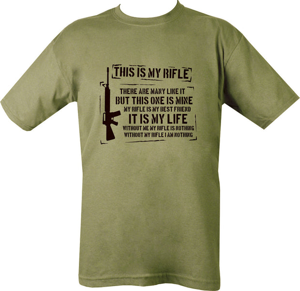 "olive t-shirt with black print. right side vertical m16 silhouette. on chest is written.""this is my rifle, there are many like it...."""