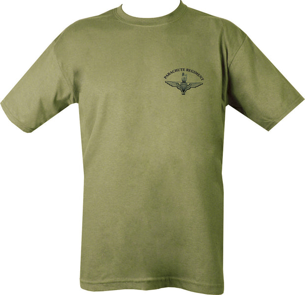 "olive t-shirt with black print. front. ""parachute regiment""text with insignia beneath"