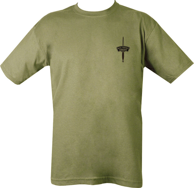green t-shirt with black print. Royal Marines dagger on left chest