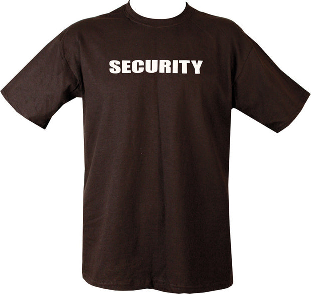 "black t-shirt with white print. text ""security"" across chest"