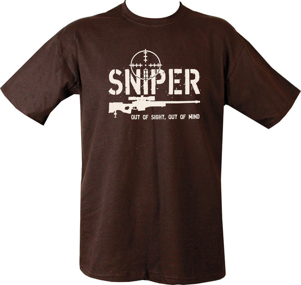"black t-shirt with white print. image of sniper rifle with crosshair behind.text "" out of sight,out of mind"""