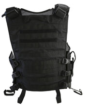 Cross Draw Tactical Vest Black molle back and size adjusters