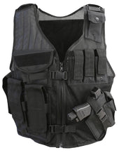 Cross Draw Tactical Vest Black built in pistol magazine pouches and removable holster