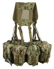 shows rear of british camo web set with 4 large back pouches and mesh back panel