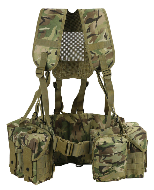 british camo web set . front shows yoke shoulder straps waist belt and 4 large  molle camo pouches