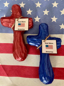 God Bless America Holding Cross