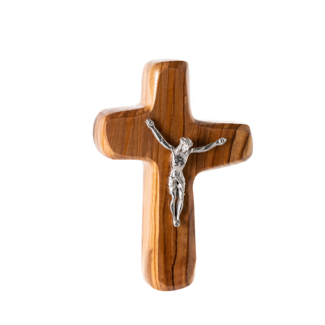 Olive Wood, Square Cross with Crucifix - BCRHC1