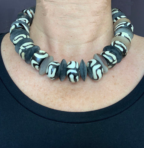 Wood Bead & Bone Necklace