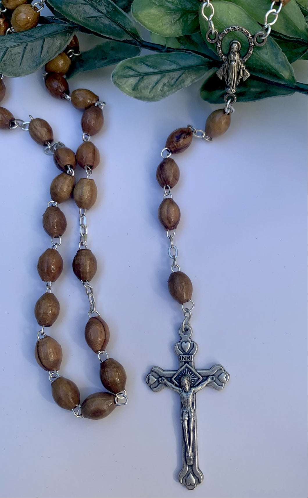Olive wood Rosary made in Jerusalem Holy Land.