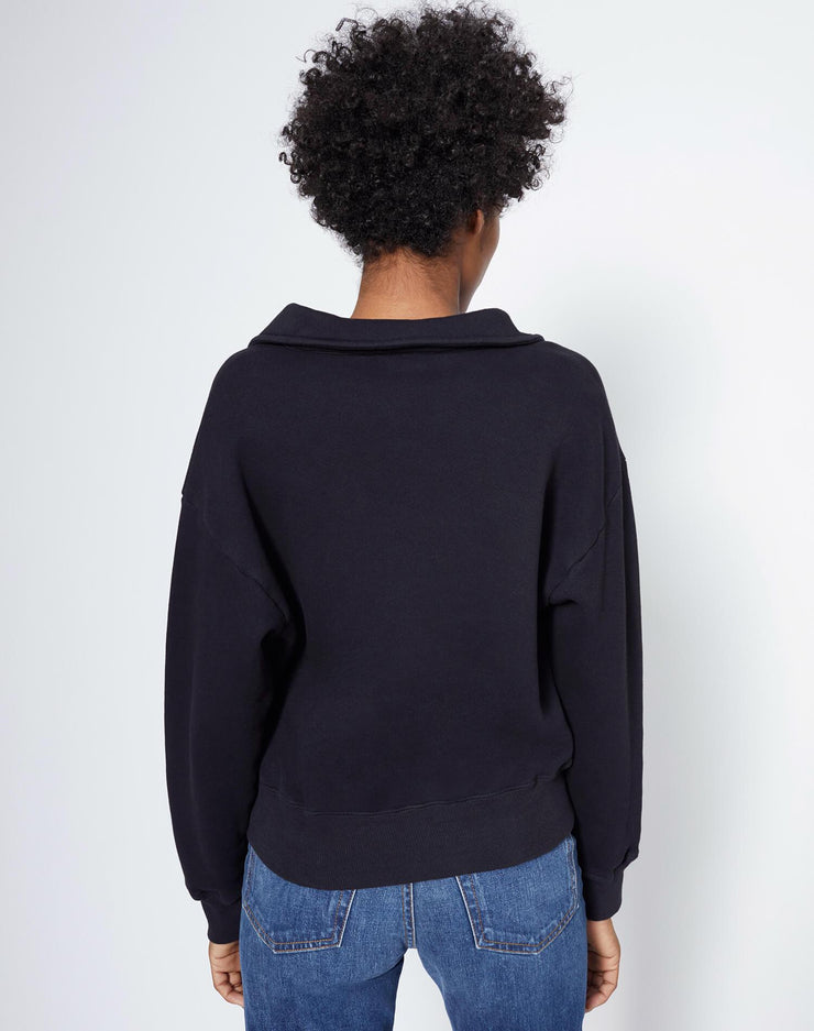 70s Half Zip Sweatshirt - Washed Black