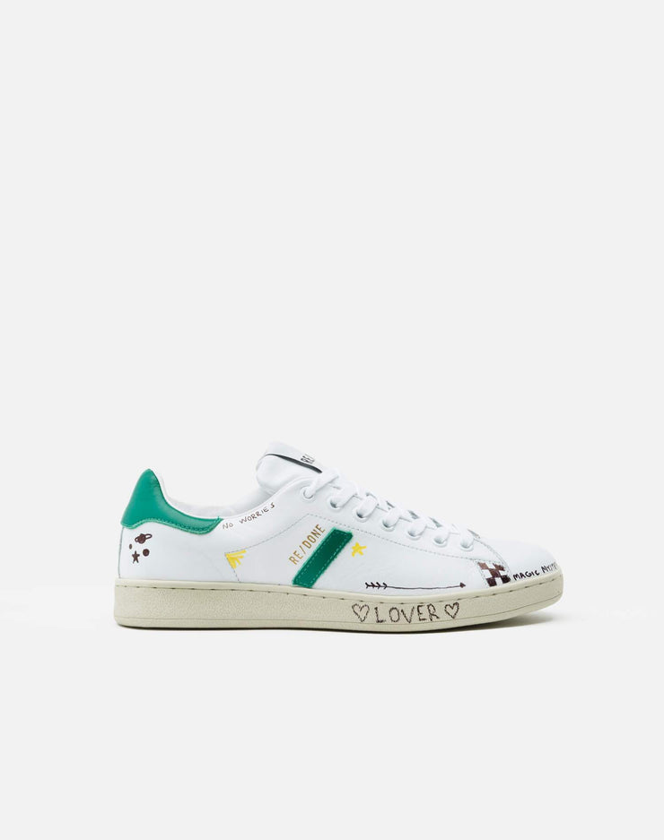 70s Tennis Shoe - Doodle White Green